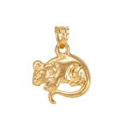 Polished 10k Yellow Gold Rat Mouse Charm Pendant