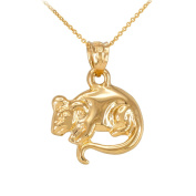 Polished 10k Yellow Gold Rat Mouse Charm Pendant Necklace