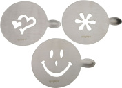 Rink Drink Coffee / Latte / Cappucino Stencil Set x 3. Stainless Steel Stencils for Chocolate Sprinkles