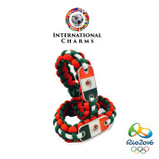 International Charms Mexican Independence Day Mexico Paracord Bracelet (2) Pack Red/Green/White with Mexican Flag Dogtag