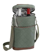 Primeware Brandy Two Bottles Carrier Divider Synthetic Leather, Olive