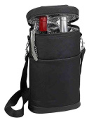 Primeware Brandy Two Bottles Carrier Divider Synthetic Leather, Black