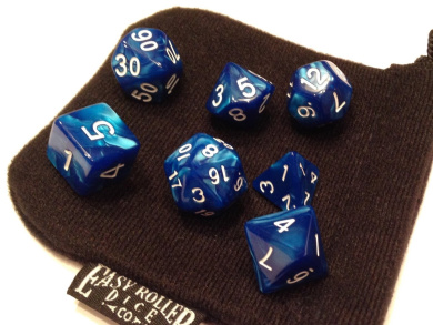 Blue Marble Polyhedral Dice Set | 7 Piece | PRISTINE Edition | FREE Carrying Bag | Hand Checked Quality.