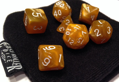 Brown and Amber Swirl Polyhedral Dice Set | 7 Piece | PRISTINE Edition | FREE Carrying Bag | Hand Checked Quality.