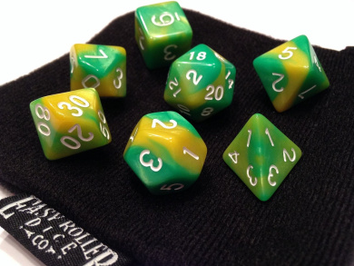 Polyhedral Dice Set | Green and Gold Swirl | 7 Piece | PRISTINE Edition | FREE Carrying Bag | Hand Checked Quality