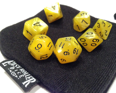 Burnt Yellow Swirl Polyhedral Dice Set | 7 Piece | PRISTINE Edition | FREE Carrying Bag | Hand Checked Quality.