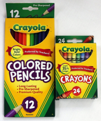 12ct Crayola Coloured Pencils Pre-Sharpened & 24ct Crayola Crayons Basic Bundle