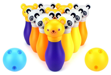 Funny Animal Bowling Children's Kid's 12 Piece Toy Bowling Playset w/ 10 Pins, 2 Bowling Balls