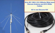 SIRIO SD 1300 Discone Antenna 25 MHz - 1.3 GHz with 15m RG8x Coax