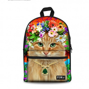 Bigcardesigns Animal Cat Print Canvas School Bag Backpack for Teens Students