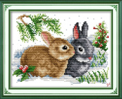 YEESAM ART® New Cross Stitch Kits Advanced Patterns for Beginners Kids Adults - Lucky Rabbits 11 CT Stamped 33x24 cm - DIY Needlework Wedding Christmas Gifts