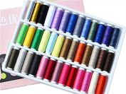 FAMILY 39 Spools Rainbow Assorted Colour 200 Yards Per Unit Polyester Sewing Thread Box Kit Set for Quilting Stitching and Hand Sewing