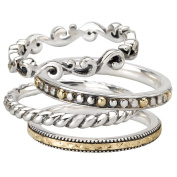 925 Silver Stacking Rings w/ 18k Accents SET of 4- Sizes 6-8