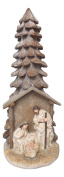 38cm Tall Nativity with Pinecone Tree Background