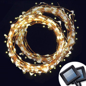 AMIR Solar Powered String Lights, 100 LED Copper Wire Lights, Waterproof Starry String Lights, Indoor/Outdoor Solar Decoration Lights for Gardens, Patios, Homes, Parties
