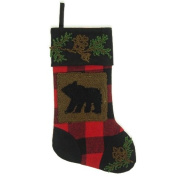 Glitzhome Plaid Stocking with Rug Hooked Bear