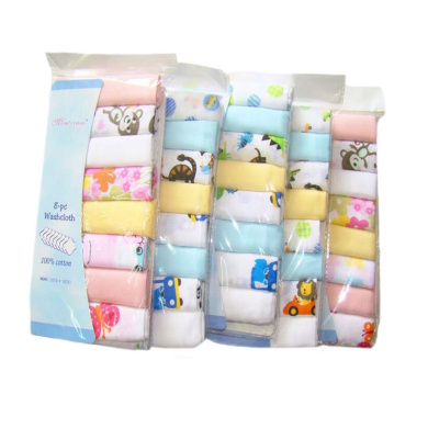 CuteOn Cotton Soft Baby Washcloths Baby Towels, Pack of 8, 30cm x 30cm 02-Girl