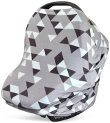 Stretchy 3-in-1 Car Seat Canopy | Nursing Cover | Shopping Cart Cover- Grey Geometric Print | Best Baby Shower Gift for Boys or for Girls | Fits Most Infant Car Seats | Great for Breastfeeding Moms