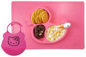 One Piece Silicone Fun Placemat & Plate/Tray with Bib - Self Suction - Pink Duck Design by Elm Tree for Kids, Toddlers & Babies