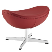 Glove Leather Ottoman in Red