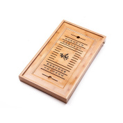 "Bamboo Reservoir & Drainage Type Kung Fu GongFu Tea Table Serving Tray L19.67"" x W11.81"" x H1.77"""