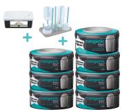 Sangenic Compatible Cassette 7 pack + Drying Rack + Wipes Dispenser BLUE