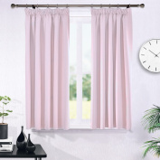 Blackout Pencil Pleat Windows Curtains - PONYDANCE Home Decoration Energy Saving Room Darkening Thermal Insulated Blackout Curtains for Nursery & Baby, 2 Panels, 120cm Wide by 140cm Drop, Light Pink