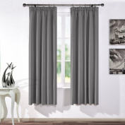 Pencil Pleat Blackout Curtains Panels - PONYDANCE Readymade Solid Thermal Insulated Blackout Curtains for Livingroom / Windows Treatments Drapery, 2 Pcs, Wide 120cm by Drop 180cm , Grey