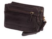 Mens Real Leather Wrist Bag Clutch Travel Brown Money Mobile Cab Organiser Man Bag A210