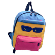 Fletion Coloured Hip Hop Fantastic Mini Backpack with Cool Glasses and Smiling Face Cotton Pattern for Unisex-Child Unisex Children Kids Kindergarten Students