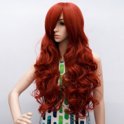 Aicos Long Curly Long Wavy Dark Red Heat Resistant Cosplay Wig for BATMAN Poison Ivy
