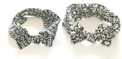 set of two Cotton Headband/ Hair Wrap (Women's Gypsy/hippie Bandana), cool . ,chic and cute black and white flowers and art with cheeky bow