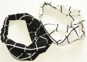 GIFZY 100% Cotton Fabric Head band/ Hair Wrap (Women's Gypsy/hippie Bandana), cool . ,chic and cute black and white set of 2