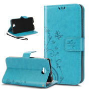 Microsoft Lumia 650 Case,ikasus Butterfly Flower Flip PU Leather Fold Wallet Pouch Case Premium Leather Wallet Flip Stand Credit Card ID Holders Case Cover for Microsoft Lumia 650,Blue