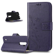 LG K7 Case,ikasus Butterfly Flower Flip PU Leather Fold Wallet Pouch Case Premium Leather Wallet Flip Stand Credit Card ID Holders Case Cover for LG K7,Purple