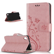 Sony Xperia X Case,ikasus Embossing Butterfly Flower Flip PU Leather Fold Wallet Pouch Case Premium Leather Wallet Flip Stand Credit Card ID Holders Case Cover for Sony Xperia X ,Pink
