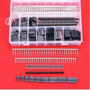 Hilitchi 515 Pcs 40 Pin 2.54mm Pitch Single Row Pin Headers,Dupont Connector Housing Female,Dupont Male/Female Pin Connector Kit