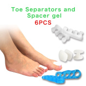 HYLOON - Gel Toe Separators & Toe Spreader, 6 Pieces of Feet Health Orthotic Device Kit to Fight Bunion, Hammer Toes, Claw Toes, Crooked Toes and More