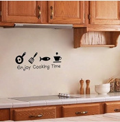 Zooarts Enjoy Cooking Time fish coffe cooker Wall Sticker Quote Kitchen Vinyl Removable Art Decal Home