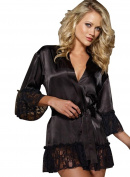 Ladies Black Lace & Sheer Fabric Kimono Negligee Robe Gown & G-String 8-10