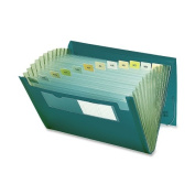 Smead Poly Expanding File, 12 Pockets, Flap and Cord Closure, Letter Size, Green