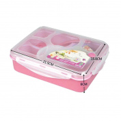 Transer® Candy Colour Portable Five Plus A With Bowl Microwave Multi-Compartment Lunch Box Lunch Pink