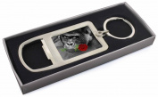Gorilla with Red Rose in Mouth Chrome Metal Bottle Opener Keyring in Box Gift Id