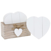 Wooden Heart Shabby Chic Country Style Coaster Set in Stand with 6 Drink Coasters - Provence Natural / White