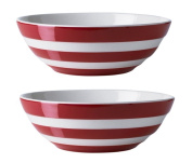 Cornishware Red and White Stripe Set of 2 Cereal Bowls