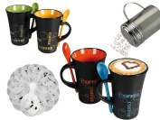 FiNeWaY@ LIVIVO SET OF 4 COFFEE MUGS WITH SPOON TEA SET DRINK LATTE CUPS CERAMIC KITCHEN ESPRESSO WITH SPOON CHOCOLATE SHAKER AND FREE 16 STENCILS