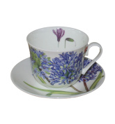 Roy Kirkham Jumbo Breakfast Cup and Saucer in Agapanthus Design