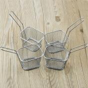 8pcs Mini Chrome Chips Fryer Basket Serving Food Bar Restaurant Chips Basket
