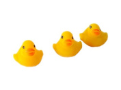 TRIXES Pack of 10 Cute Mini Squeaky Yellow Bath Ducks