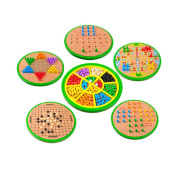KidsHobby® Deluxe 5 in 1 Wooden Chess Game Set Board Game Education Toy for Kids